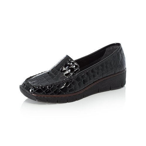 Rieker Black Patent Croc Slip On. R027