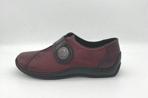 Rieker Burgundy Shoe with Velcro Strap. R038