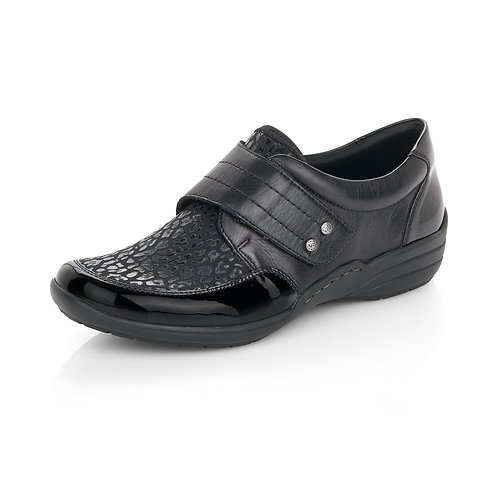 Remonte black slip on with velcro strap. R031
