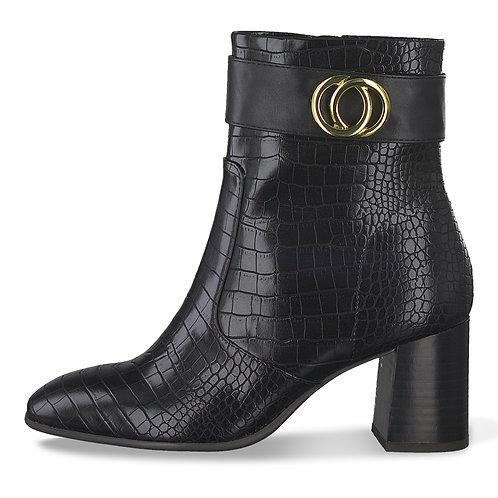 Tamaris Black High Block Heel Boot. T004