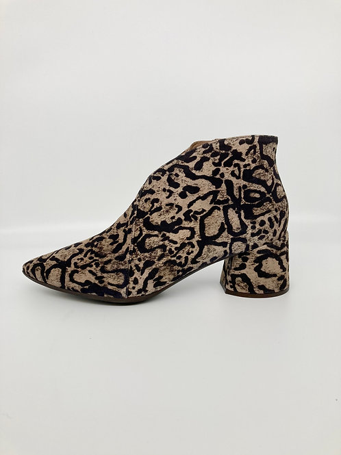 Wonders Black & Taupe Print Ankle Boots.  W002