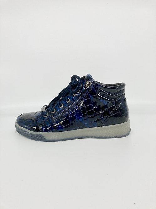 ARA Navy Croc Patent Boots. A009