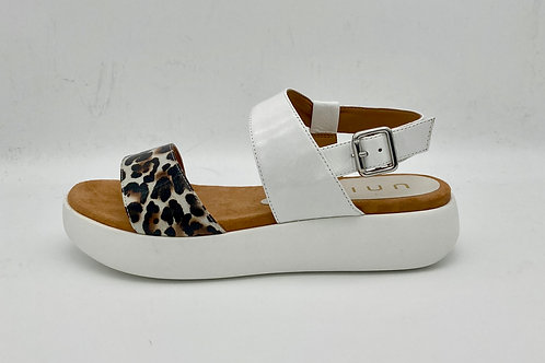 Unisa White & Animal Print Sandal.