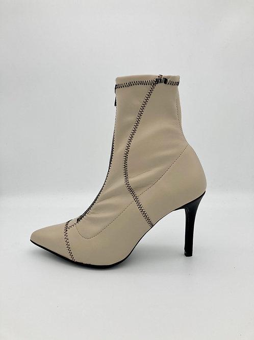 Marian Cream Zip Front Boot. M013