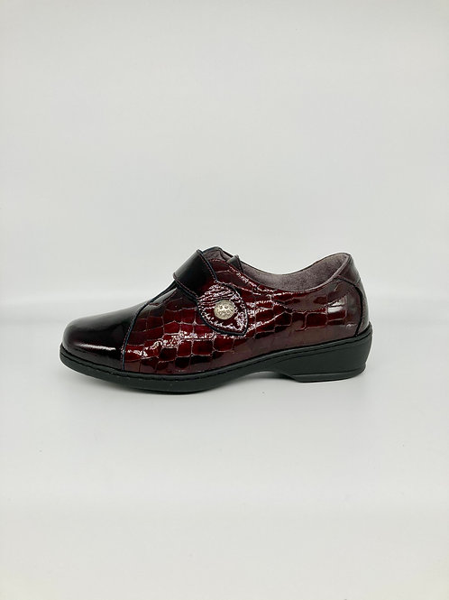 Notton Burgundy Patent Velcro Slip On.
