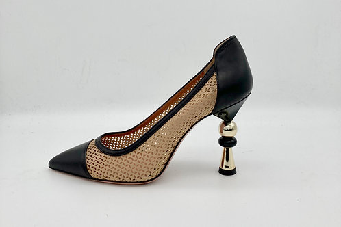 Oxitaly Black & Taupe Mesh Shoes - Feature Heel. O003