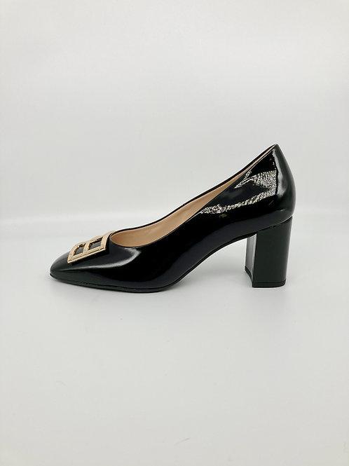 Hogl Black Patent Block Heel Court. H001