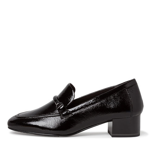 Tamaris Black Patent Loafer with heel. T006