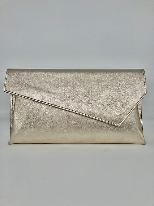 Marian Gold Leather Clutch Bag