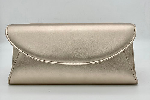 Brenda Zaro Gold Leather Clutch Bag