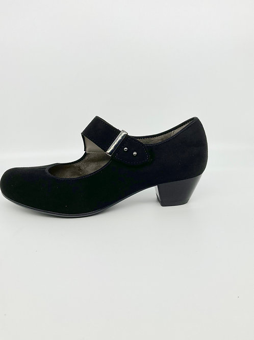 Ara Suede Low Heel Court Shoe. A004