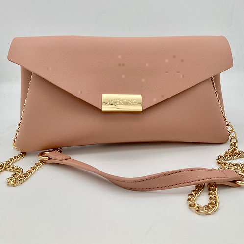 Valentino Peach Pink Envelope Clutch with optional chain.