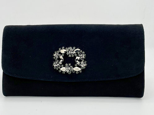 Brenda Zaro Black Suede Clutch Bag