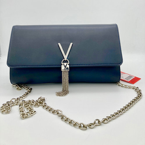 Valentino Navy Large Clutch with optional chain.