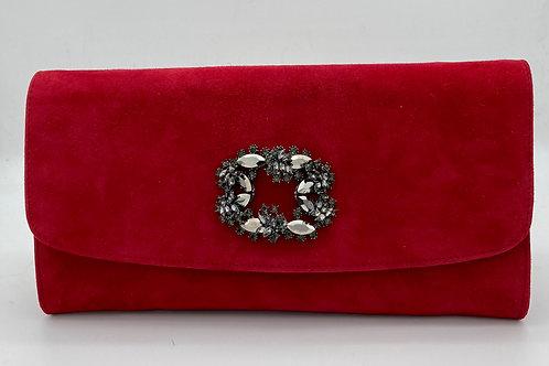 Brenda Zaro Red Suede Clutch Bag