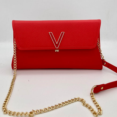 Valentino Red Clutch Bag with optional chain.