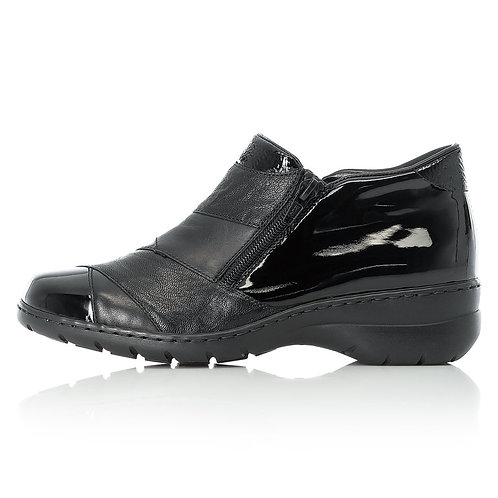 Rieker Black Leather & Patent Boot. R010