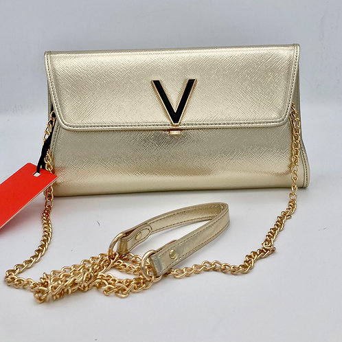 Valentino Gold Cluth Bag with Chain