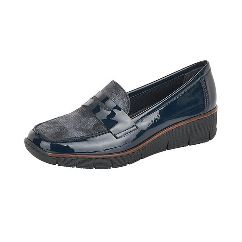 Rieker Navy Patent Loafer. R004