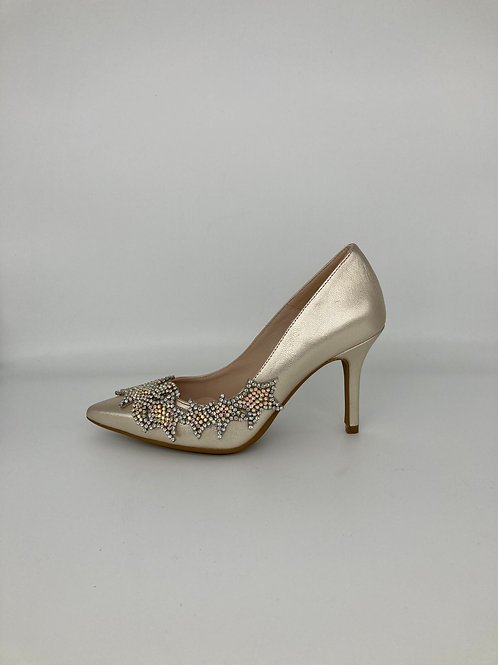Marian Champagne Gold Jewelled Court Shoe. M004