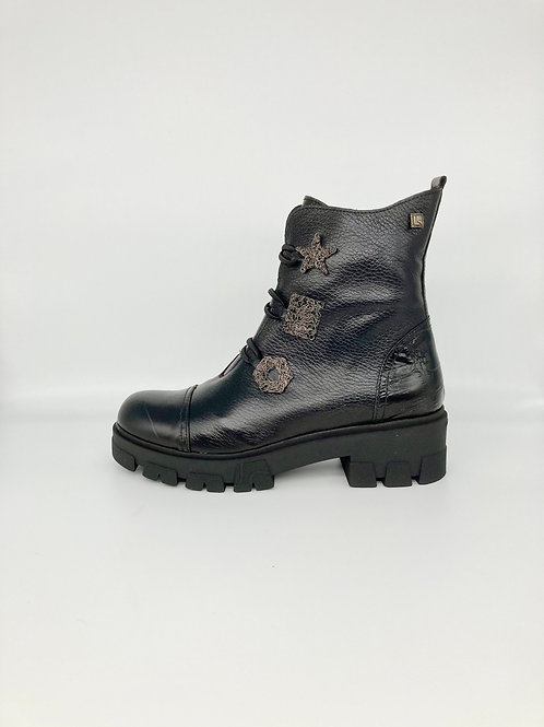 Jose Saenz Black Chunky Ankle Boot . JS004