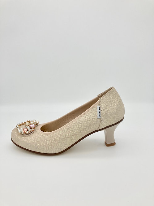 Marco Moreo Soft Pinky Gold Low Heel Court. M008D