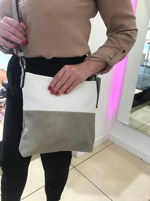 Tamaris Taupe & White Cross Body Bag