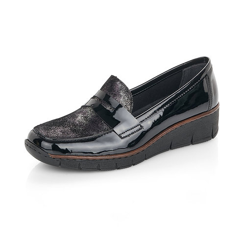 Rieker Black Patent Loafer. R003
