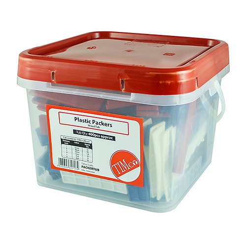 Assorted Plastic Packers 100mm x 28mm - Tub of 400