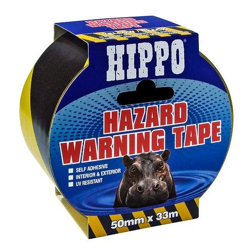 Hippo Yellow & Black Hazard Warning Tape - 50mm x 33m