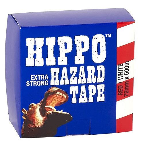 Hippo Red & White Hazard Barrier Tape - 72mm x 500m
