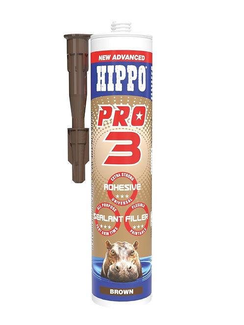 Hippo Pro3 3in1 Adhesive, Sealant & Filler 310ml Cartridge Brown