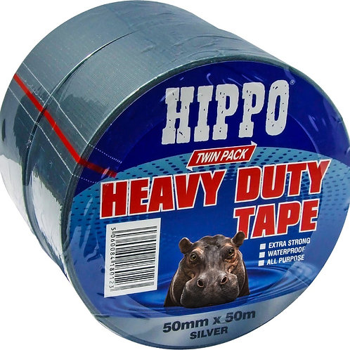 Hippo Heavy Duty Duct Tape Silver 50mm x 50m TWIN PACK