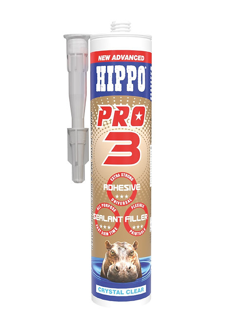 Hippo Pro3 3in1 Adhesive, Sealant & Filler 310ml Cartridge Clear
