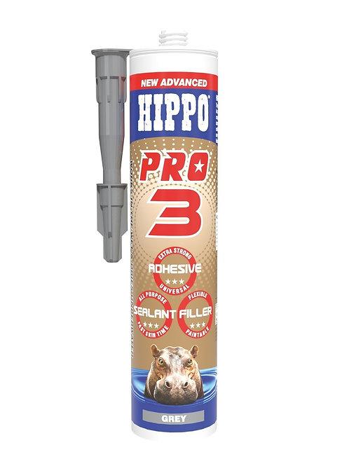 Hippo Pro3 3in1 Adhesive, Sealant & Filler 310ml Cartridge Grey