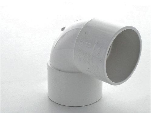 WW117 Hunter Waste 40mm 90 Degree Bend White
