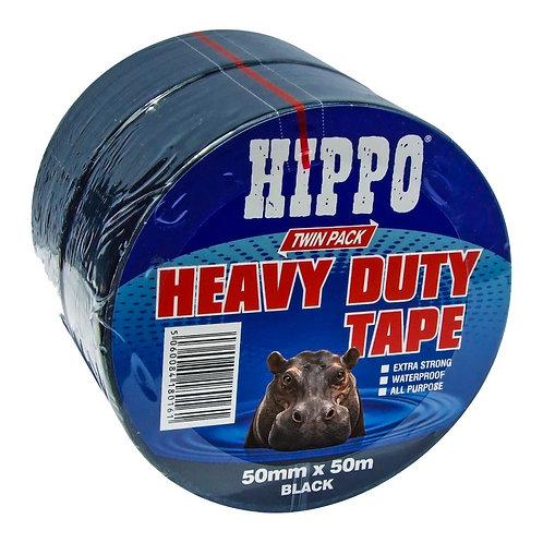 Hippo Heavy Duty Duct Tape Black - 50mm x 50m TWIN PACK