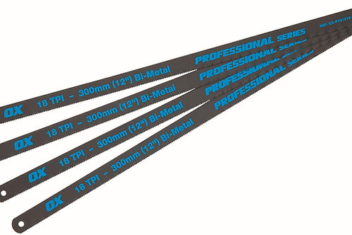 Ox Pro 12 inch (300mm) Hacksaw Blades 18 TPI - Pack of 4