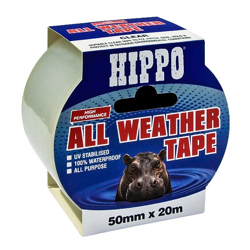Hippo Clear All Weather Tape - 50mm x 20m