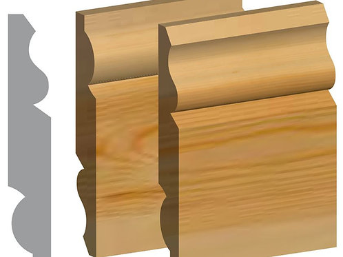 Dual Ogee / Torus Skirting Timber 25mm x 125mm Redwood