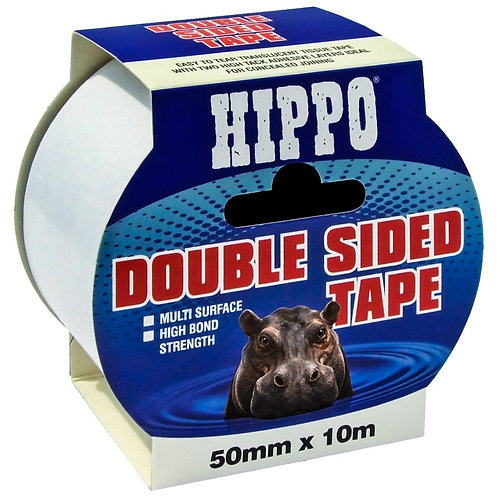 Hippo Clear Double Sided Tape - 50mm x 10m