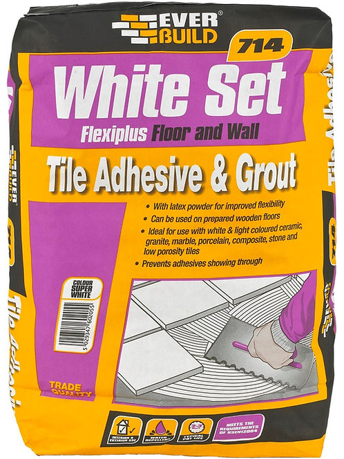 714 White Set Flexiplus Floor Wall Grout Adhesive 20kg