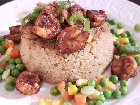 Jerk Shrimps on Quinoa