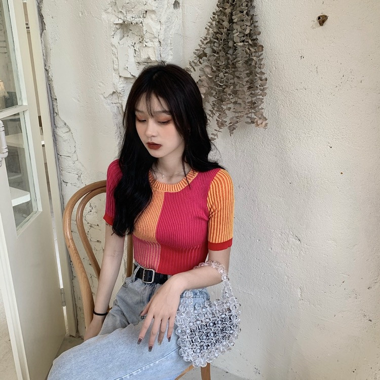 Patchwork Crop Top Knitted Shirt