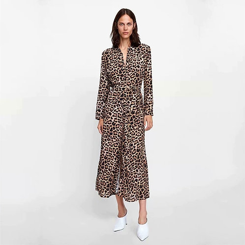 Long Sleeve Leopard Print Dress
