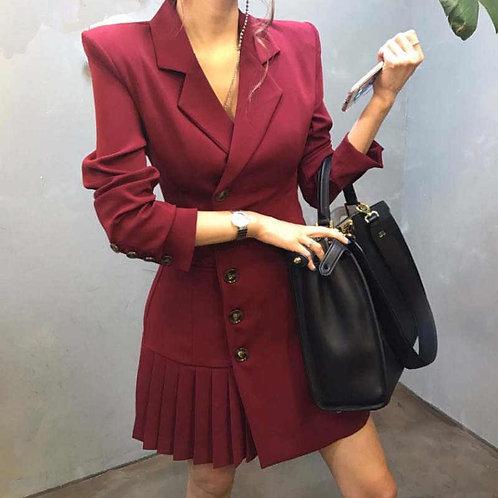 Pleated Blazer Dress