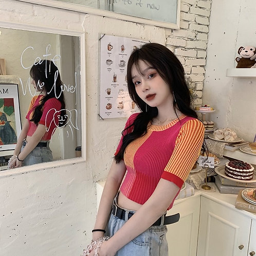 Patchwork Knitted Crop Top