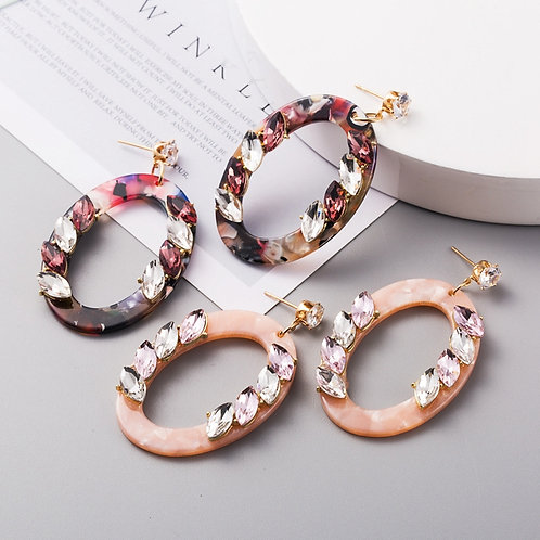 Oval Round Earrings