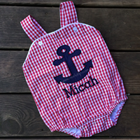 Gingham Anchor Sunsuit