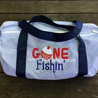 Gone Fishin' Seersucker Duffle Bag